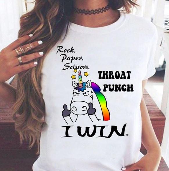 Unicorn Rock paper scissors throat punch I win shirt hoodie sweater tank top