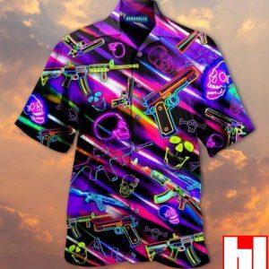 Guns Neon Glow Skull Hawaiian Shirt