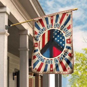 Hippie. Imagine All The People Living Life In Peace American House Flag