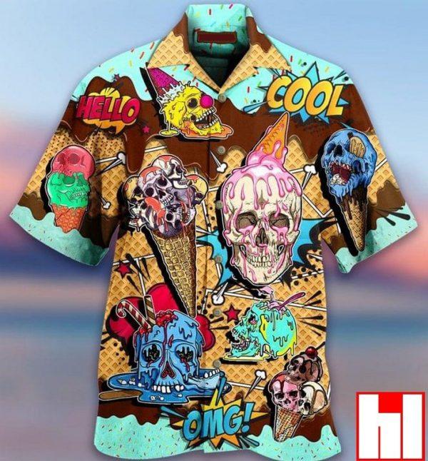 Ice Cream Skulls Hawaiian Shirt