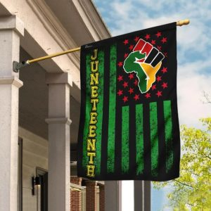Juneteenth Africa Green American Flag for House