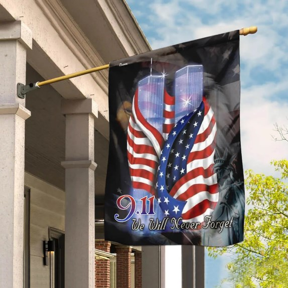September 11th We Will Never Forget American Flag for House