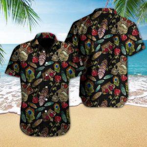 Skull Rose Feather Hawaiian Shirt