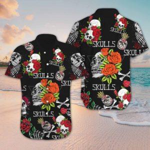 Skull Rose Hawaiian Shirt Short Sleeve