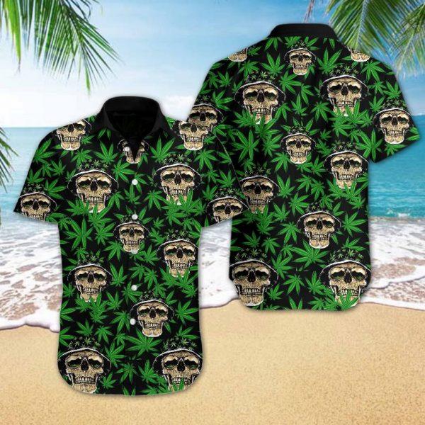 Skull and Weed Hawaiian Shirt