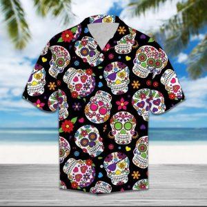 Sugar Skull Flower Hawaiian Shirt