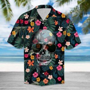 Tropical Skull Wear Sunglasses Hawaiian Shirt