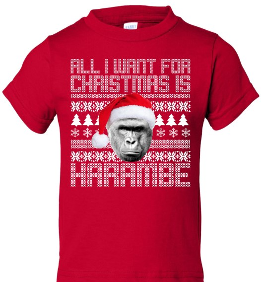 all i want for christmas is harambe shirt hoodie sweater tank top
