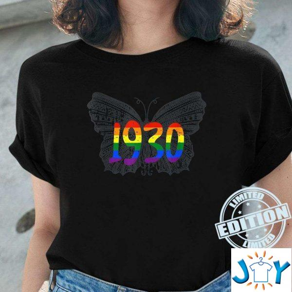 lgbt flag gray butterfly gay pride month unisex t shirt M