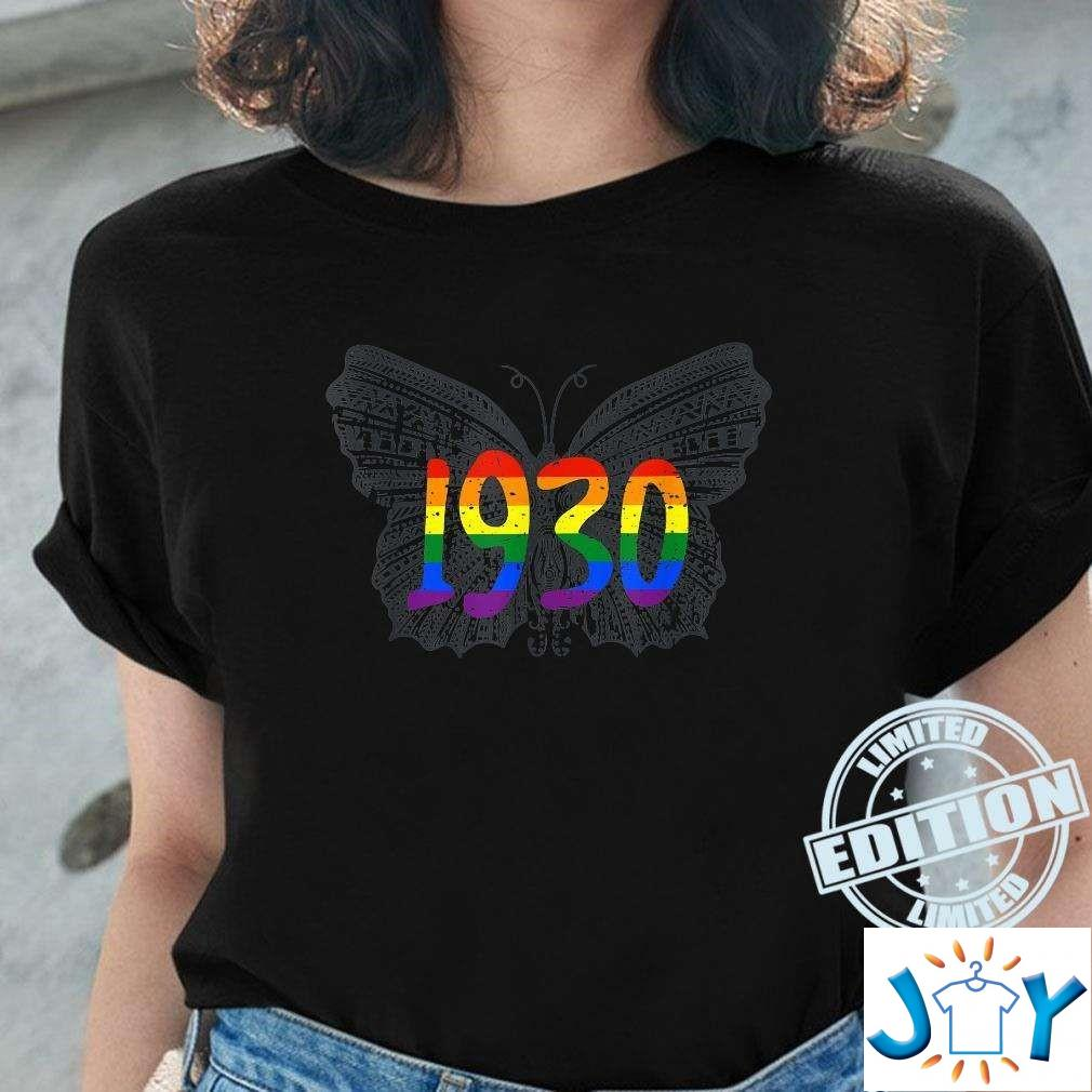 1930 Lgbt Flag Gray Butterfly Gay Pride Month Unisex T-Shirt