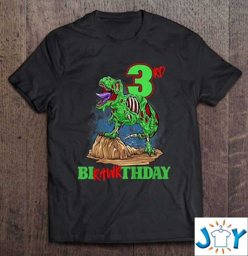 3Rd Birthday Zombie Dinosaur T-Rex Party Toddler 3 Years Old Shirt