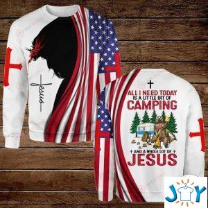 all i need today is a little bit of camping and a whole lot of jesus hawaiian shirt hoodies and sweatshirt