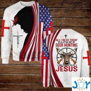 all i need today is a little bit of hunting and a whole lot of jesus hawaiian shirt hoodies and sweatshirt