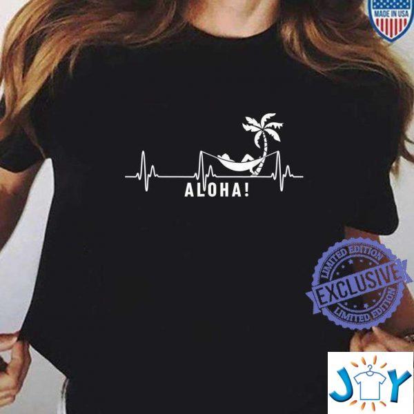 aloha hawaiian hawiann aloha heartbeat t shirt M