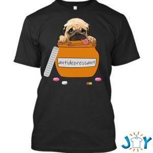 antidepressant pug t shirt