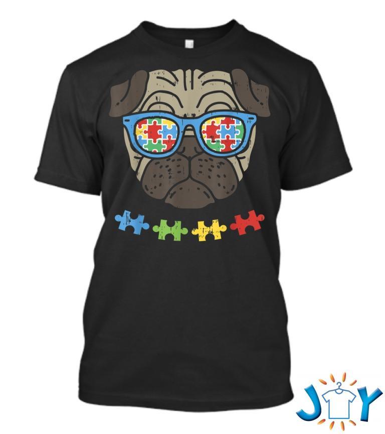 Autism Awareness Pug Puzzle Sunglasses Dog Lover T Shirt