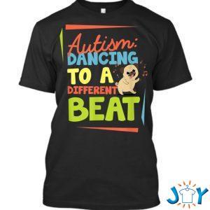 autism dancing to a different beat pug dog awareness love t shirt