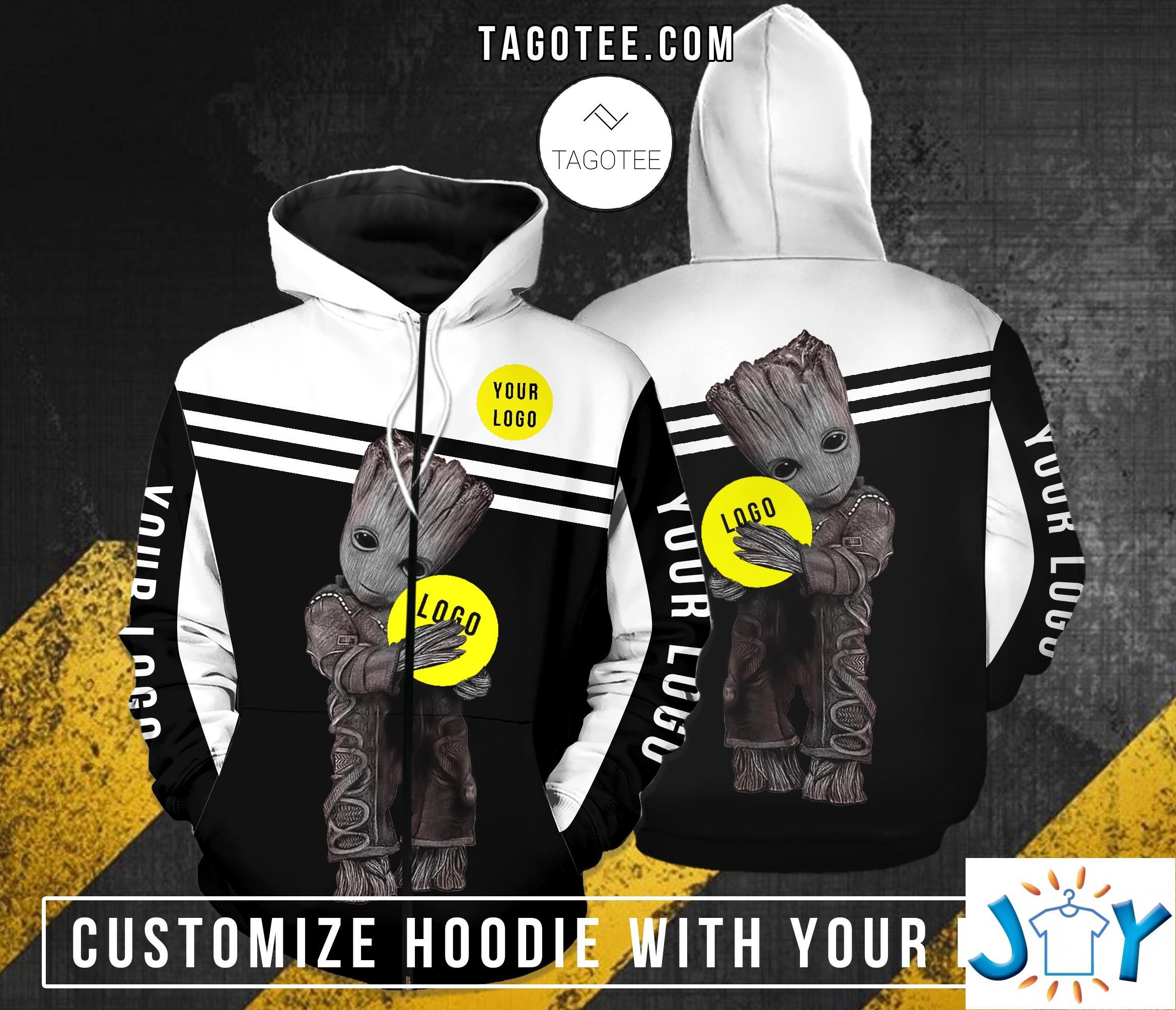 Baby Groot Hugs Custom Logo 3D Hoodie