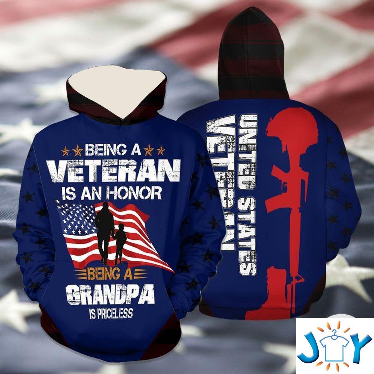 Being A Veteran Is An Honor Being A Grandpa Is Priceless 3D Hoodie