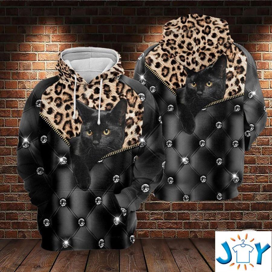 Black Cat Leopard Skin 3D All Over Print Hoodie