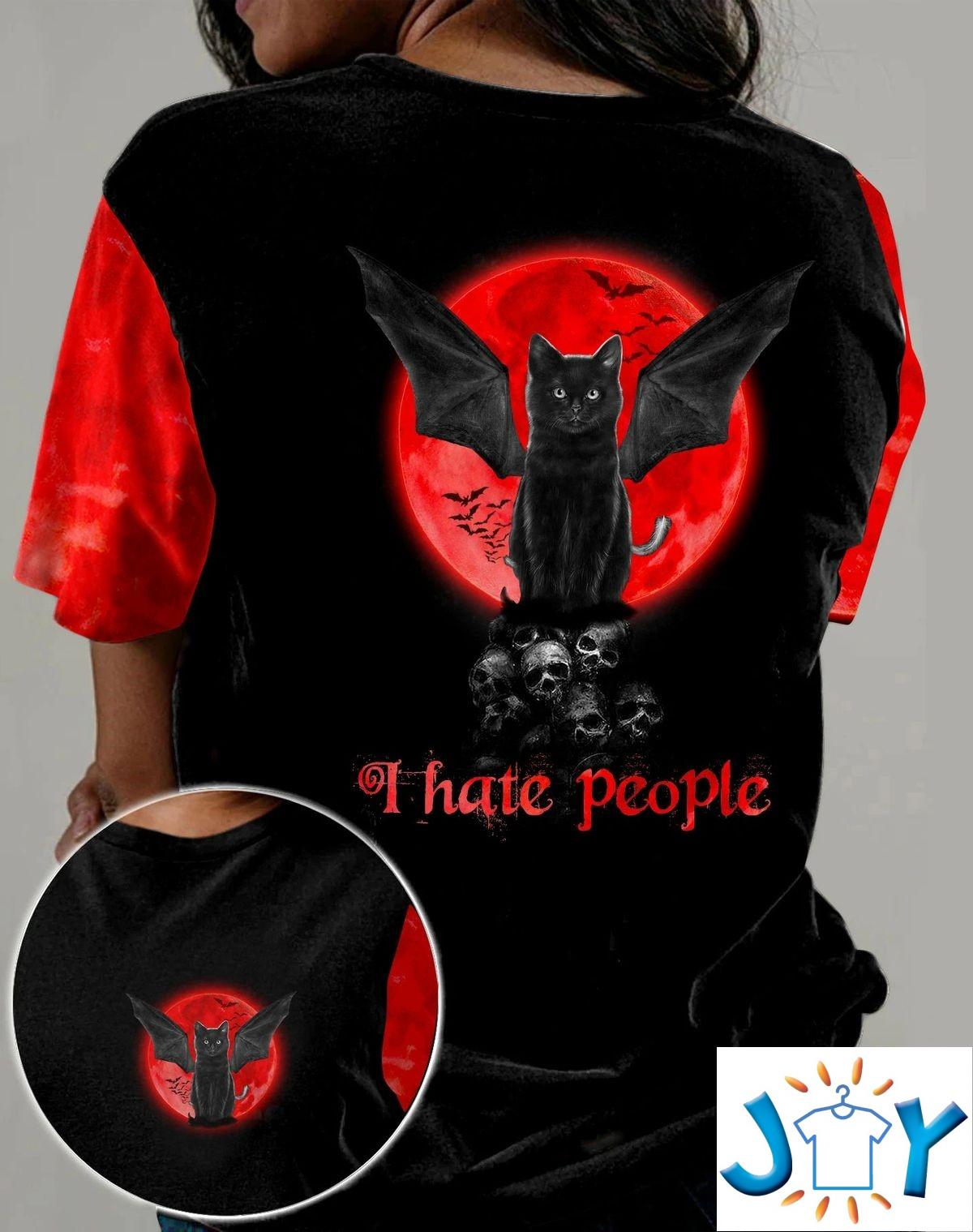 Black Cat Skull I Hate People 3D All Over Print T-Shirt, Hoodie