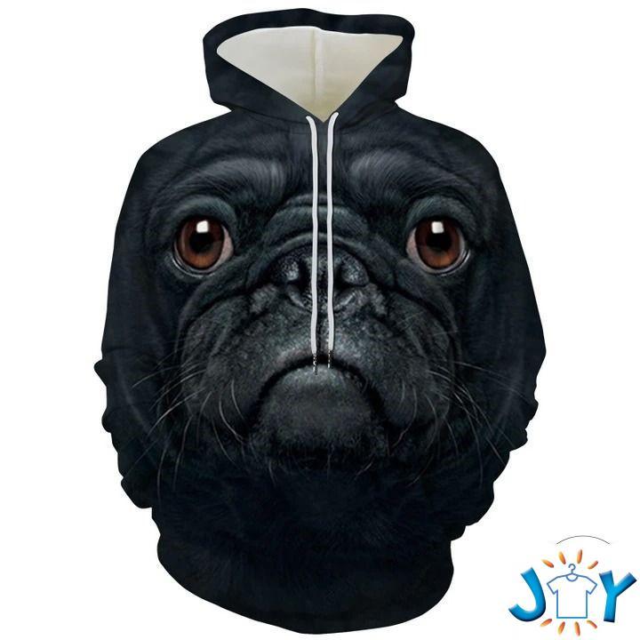 Black Pug Big Face 3D Hoodie