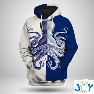 blue and white octopus d hoodies