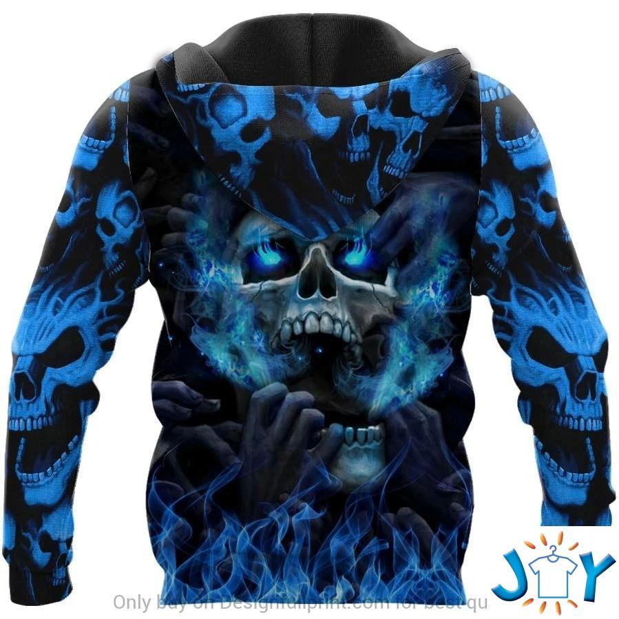 Blue Eyes Screaming Skull 3D All Over Print Hoodie