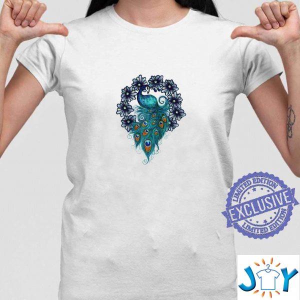 blue peacock art daisy designs peacocks unisex t shirt M