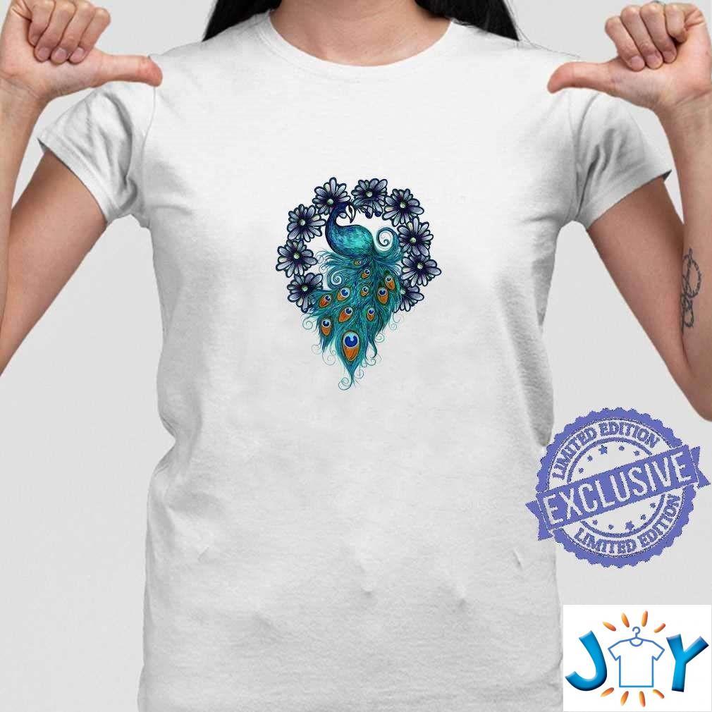 Blue Peacock Art Daisy Designs Peacocks Unisex T-Shirt