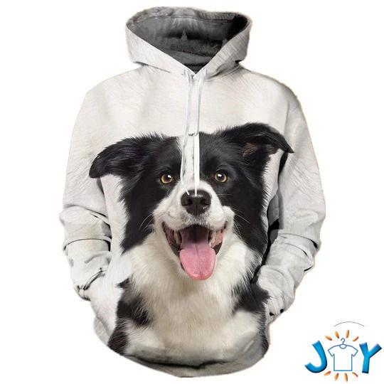 Border Collie Laughing 3D All Over Print Hoodie