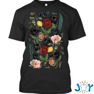 botanical and black pug by huebucket q t shirt