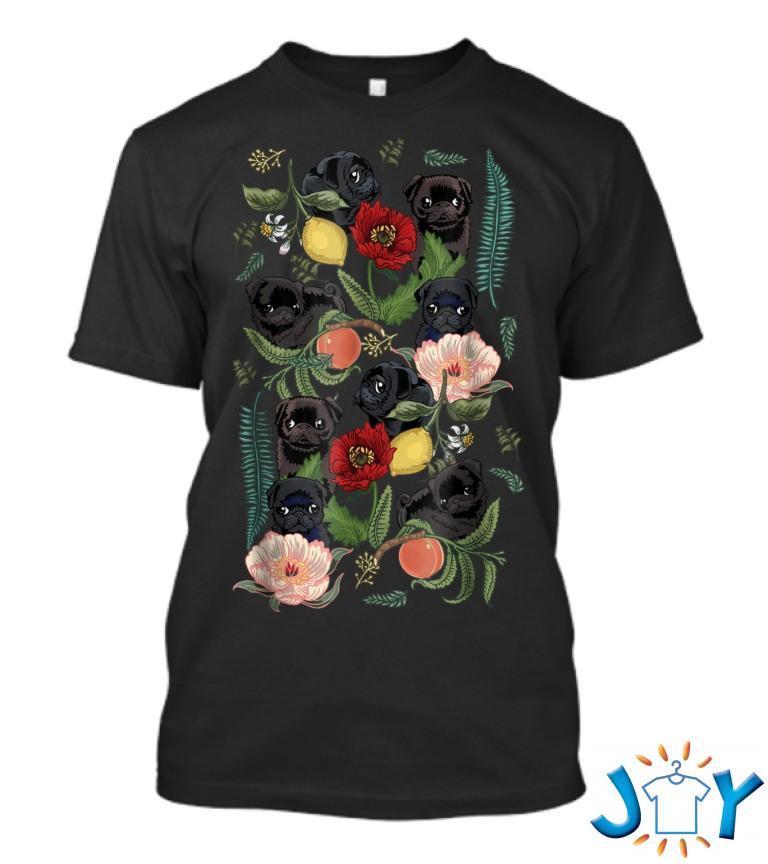Botanical And Black Pug By Huebucket 5Q T Shirt