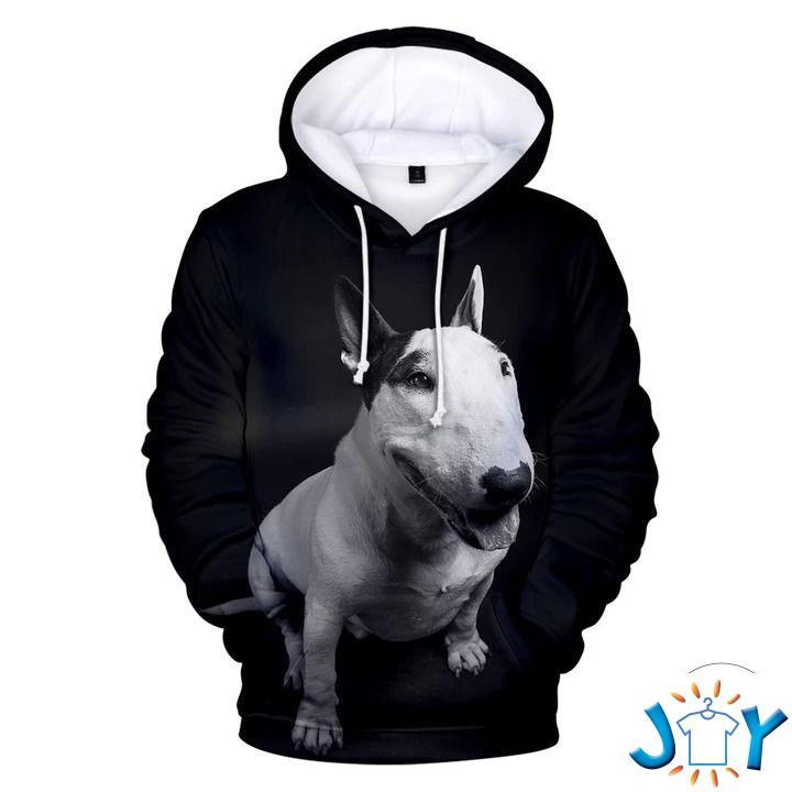 Bull Terrier Sit Dog 3D All Over Print Hoodie