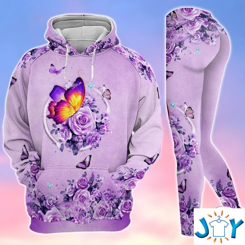 Butterflies Purple Rose 3D Hoodies And Leggings