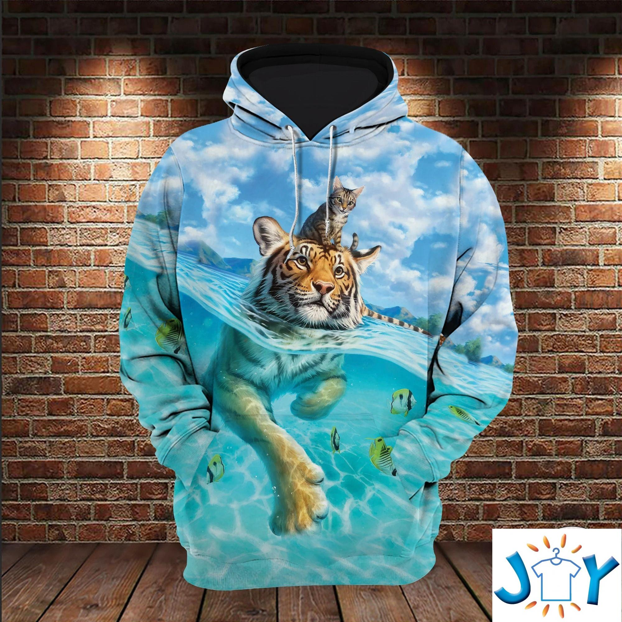 Cat And Bengal Tiger Swimming 3D All Over Print Hoodie