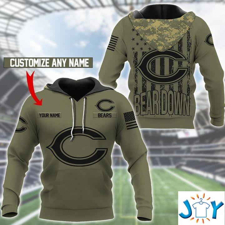Chicago Bears Camo American Flag Personalized 3D Hoodie