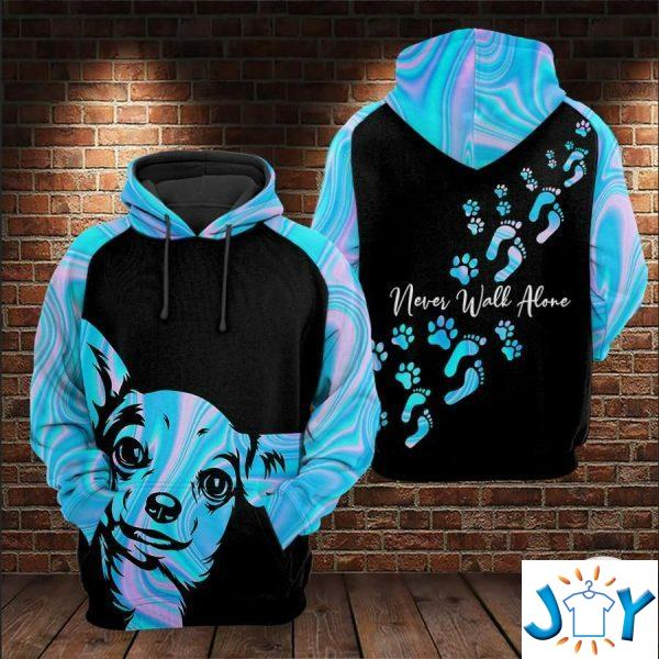 chihuahua never walk alone d all over print hoodies