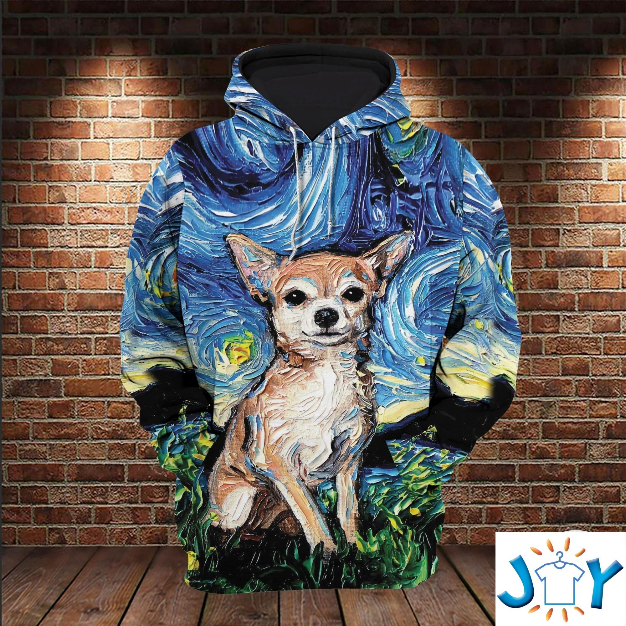 Chihuahua Starry Night 3D All Over Print Hoodie