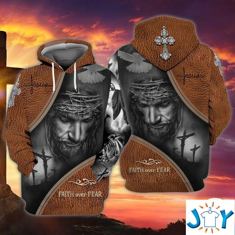 Christian Faith Over Fear As Leather 3D Hoodies