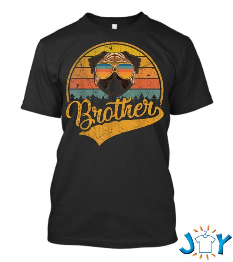 Cool Fathers Day Retro Vintage Pug Brother T Shirt