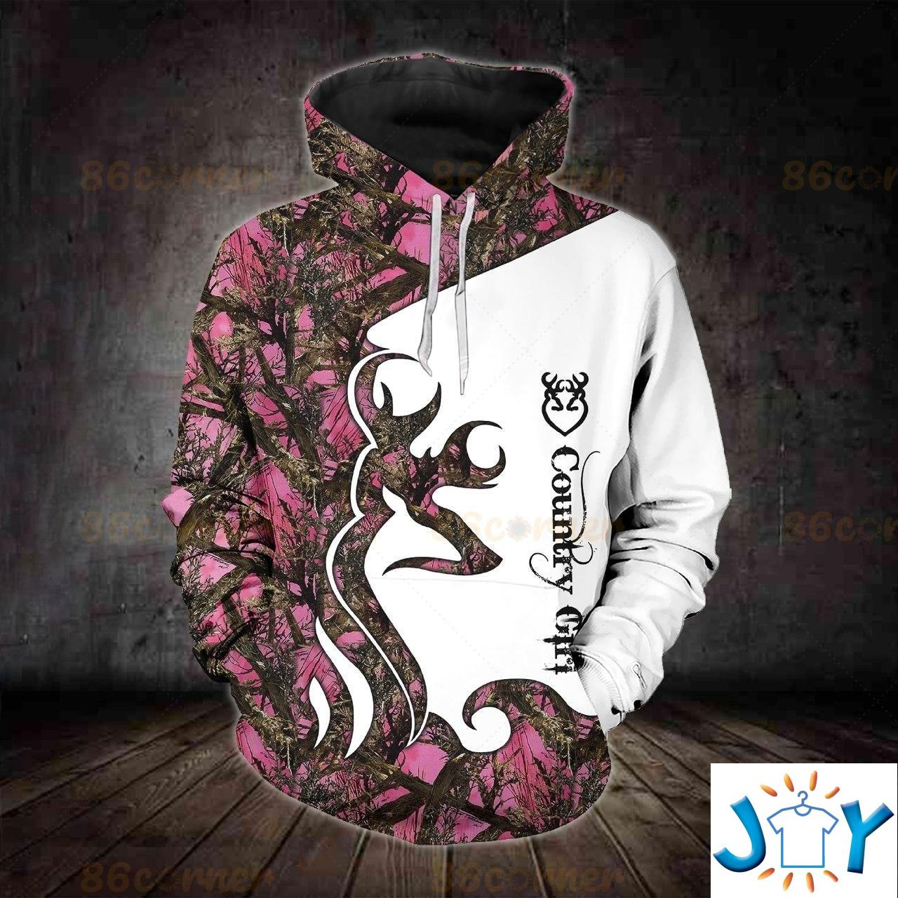 Country Girl Deer Camo 3D All Over Printed Hoodie