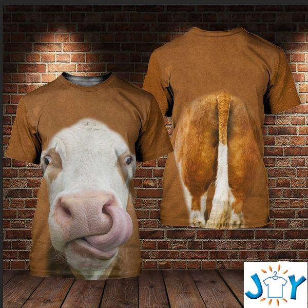 cow licking nose d all over print hoodies sweatshirt and t shirt