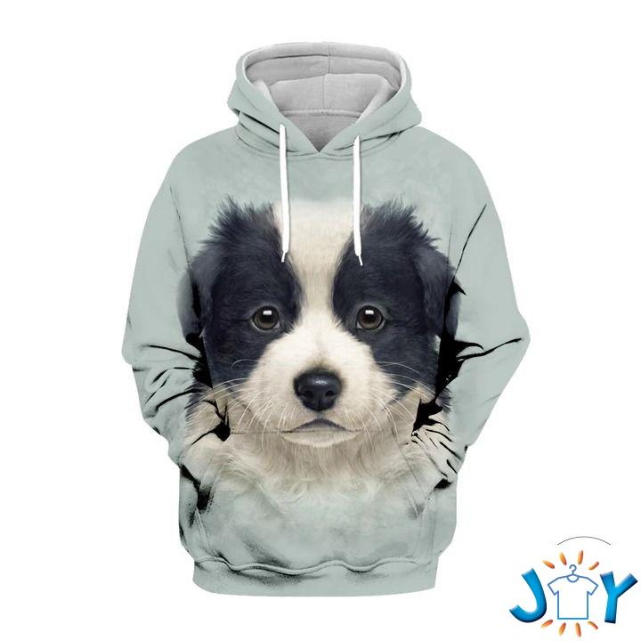 Cute Border Collie Puppy 3D All Over Print Hoodie