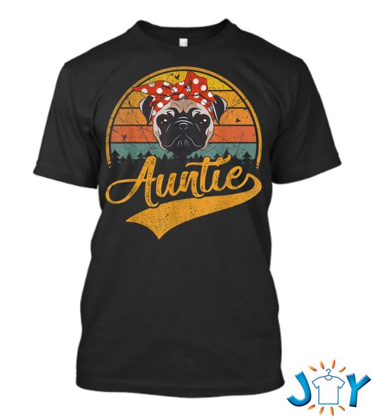 Cute Mothers Day Retro Vintage Pug Auntie T Shirt