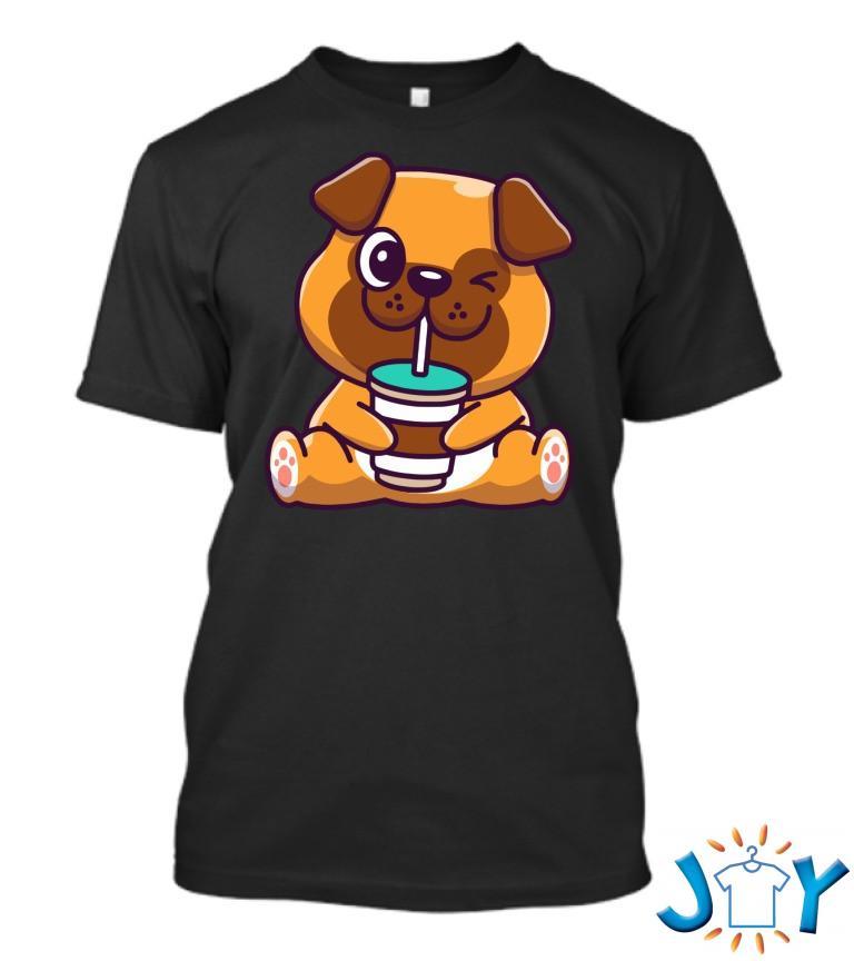Cute Pug Drinking Coffee T Shirt