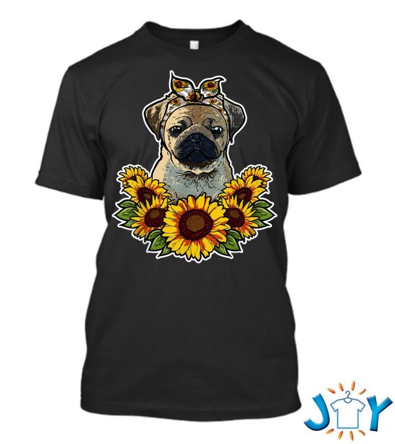 Cute Pug Sunflower Decor Pug Dog Hl T Shirt