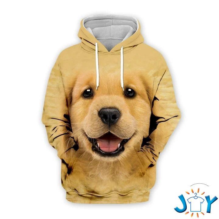 Cute Puppy Golden Retriever 3D All Over Print Hoodie