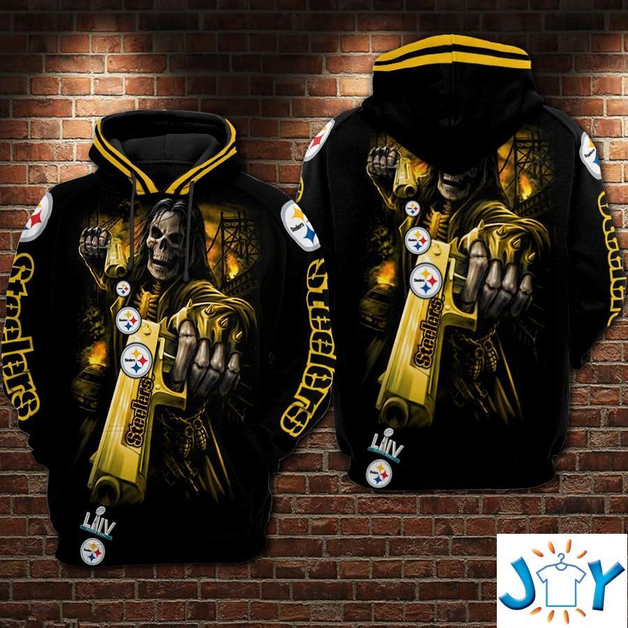 Death Skull Gun Pittsburgh Steelers Super Bowl 2020 3D Hoodie