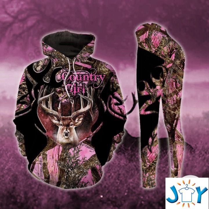 Deer Hunting Camo Country Girl 3D Hoodies And Leggings